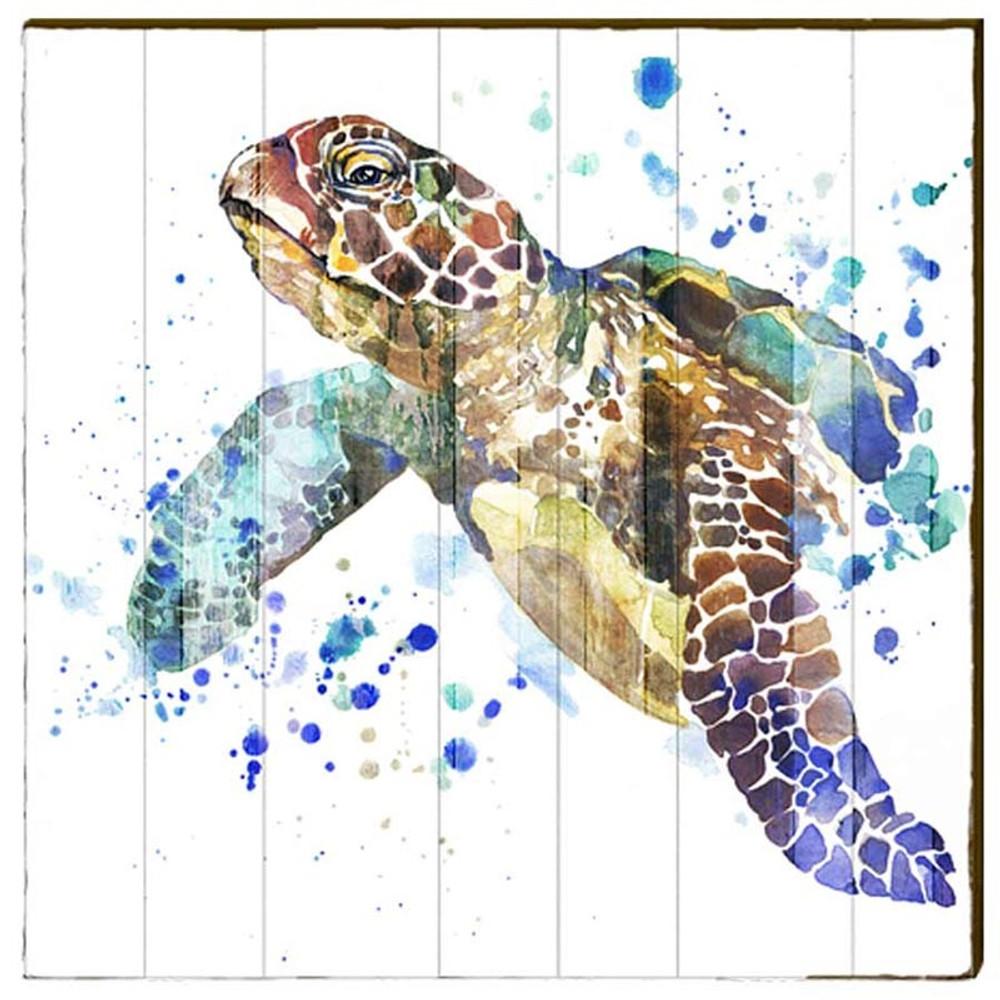 Famous Sea Turtle Watercolor Wood Art | 30x30 | Mill Wood Art VF91
