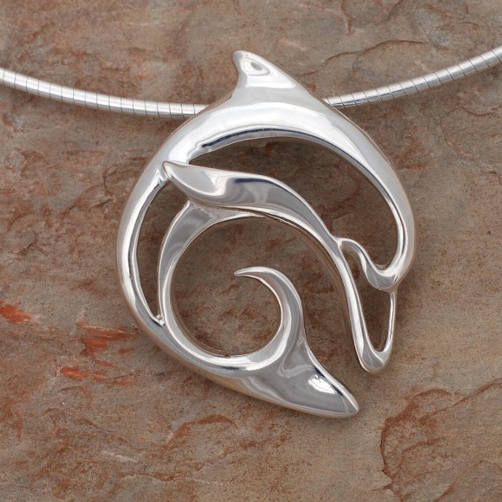Dolphin pendant necklace flipper big blue jewelry roland st john dolphin pendant necklace flipper big blue jewelry roland st john aloadofball Choice Image