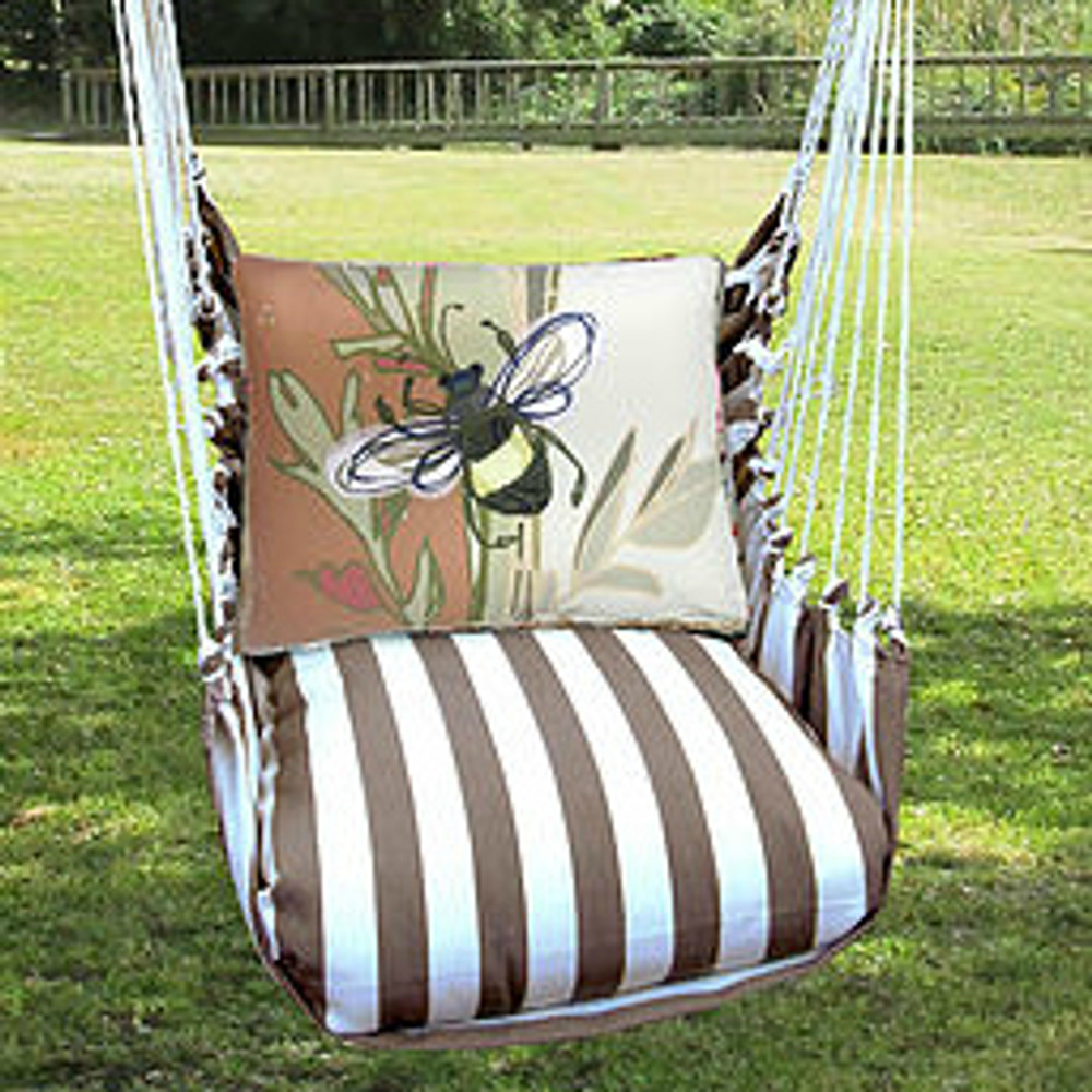Bee Hammock Chair Swing Striped Chocolate Magnolia Casual