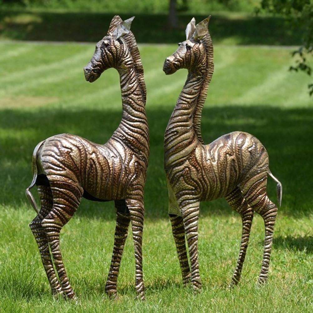 Zebra Metal Outdoor Statues Set Of 2   Zaer LTD, Intl.   ZR140080