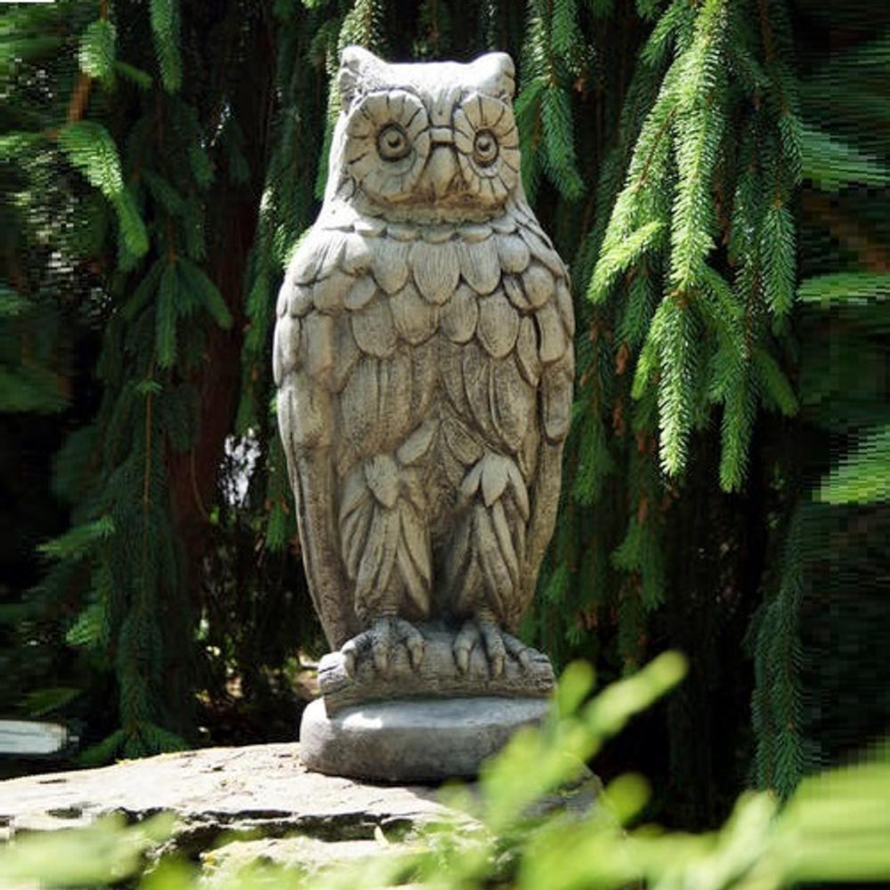 Owl Concrete Outdoor Garden Statue Owl Henri Studio
