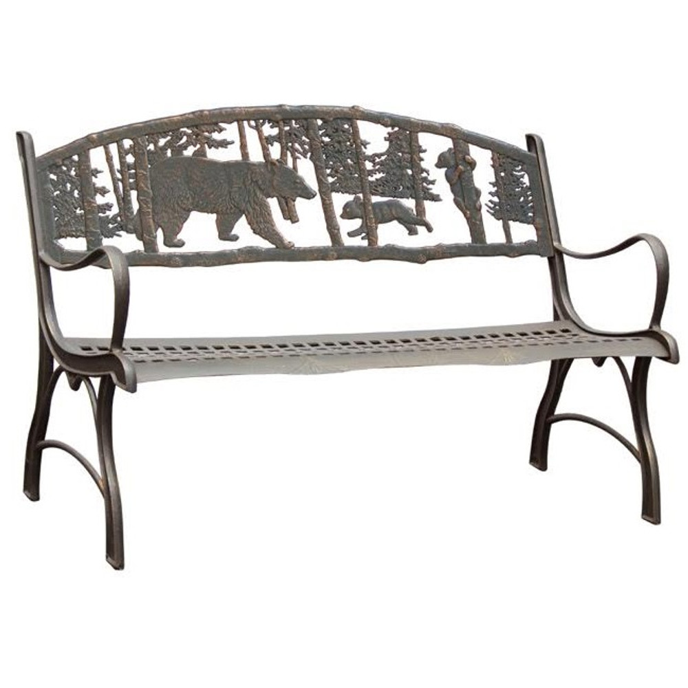 bear bench cast iron painted sky