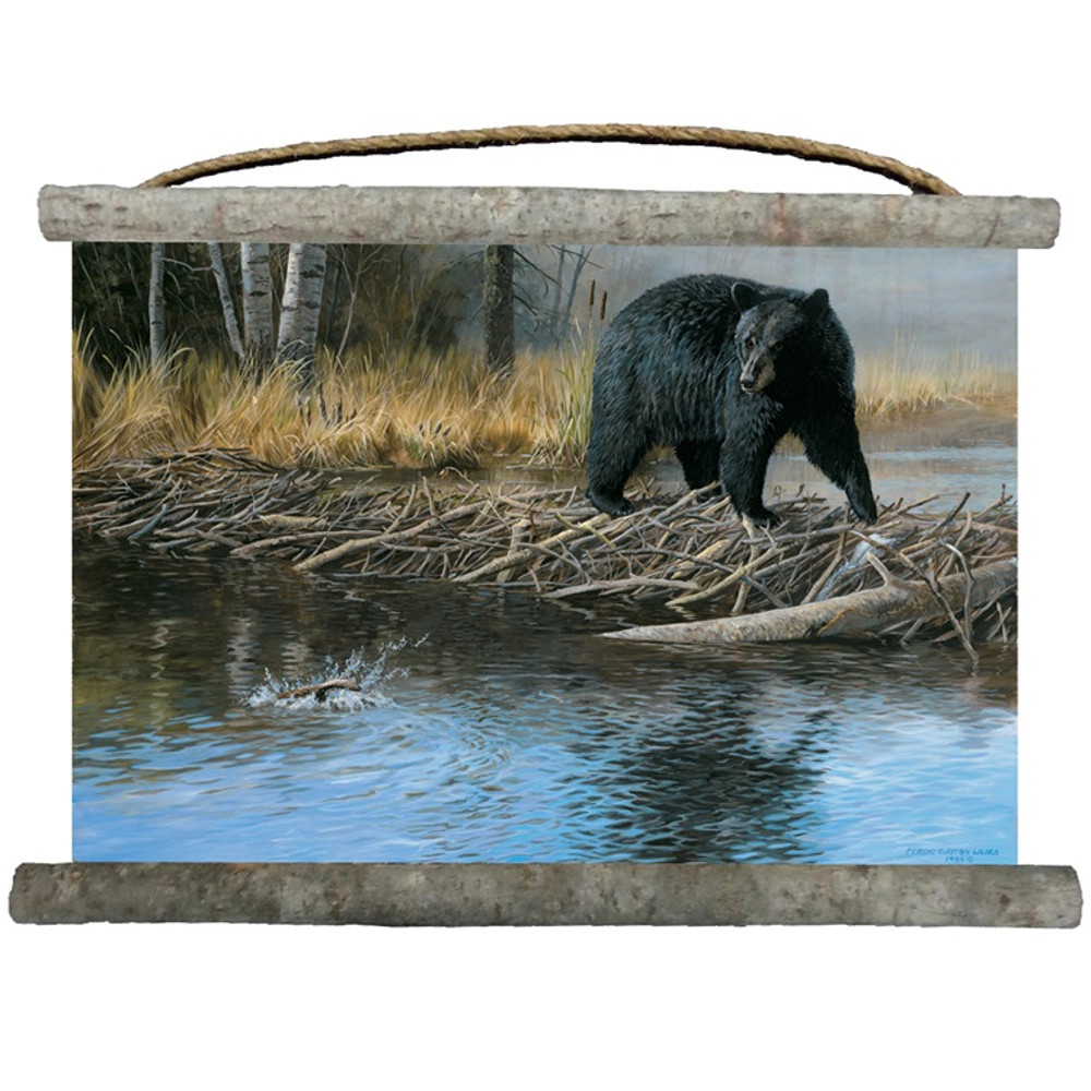 Black Bear Wall Hanging | No Trespassing | Canvas | Decor | Wall Art