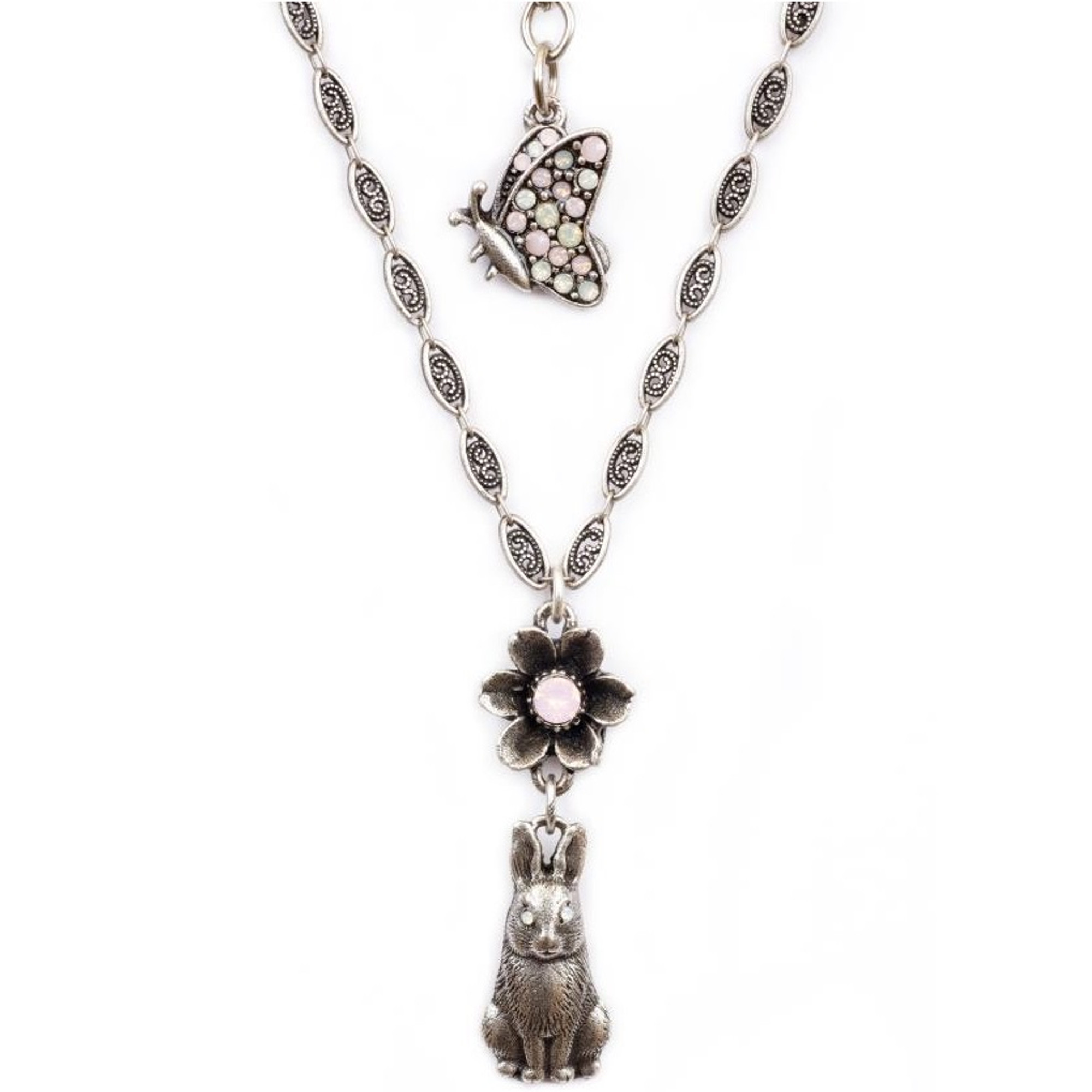 bunny and flower pendant necklace