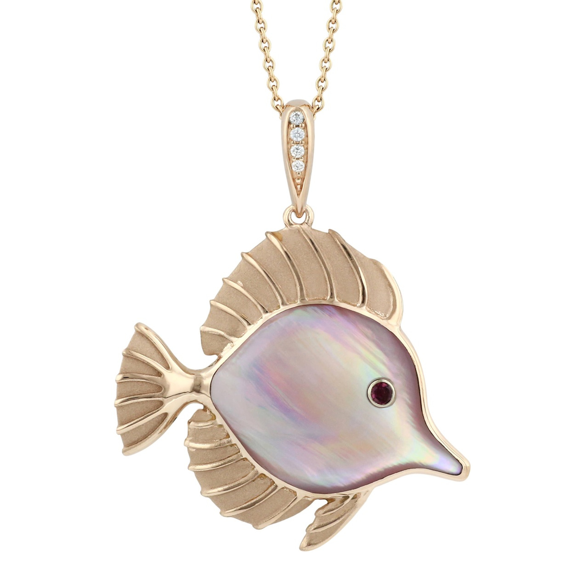 Fish 14k rose gold and mother of pearl necklace kabana fish 14k rose gold pendant with pink mother of pearl inlay necklace kabana jewelry aloadofball Image collections