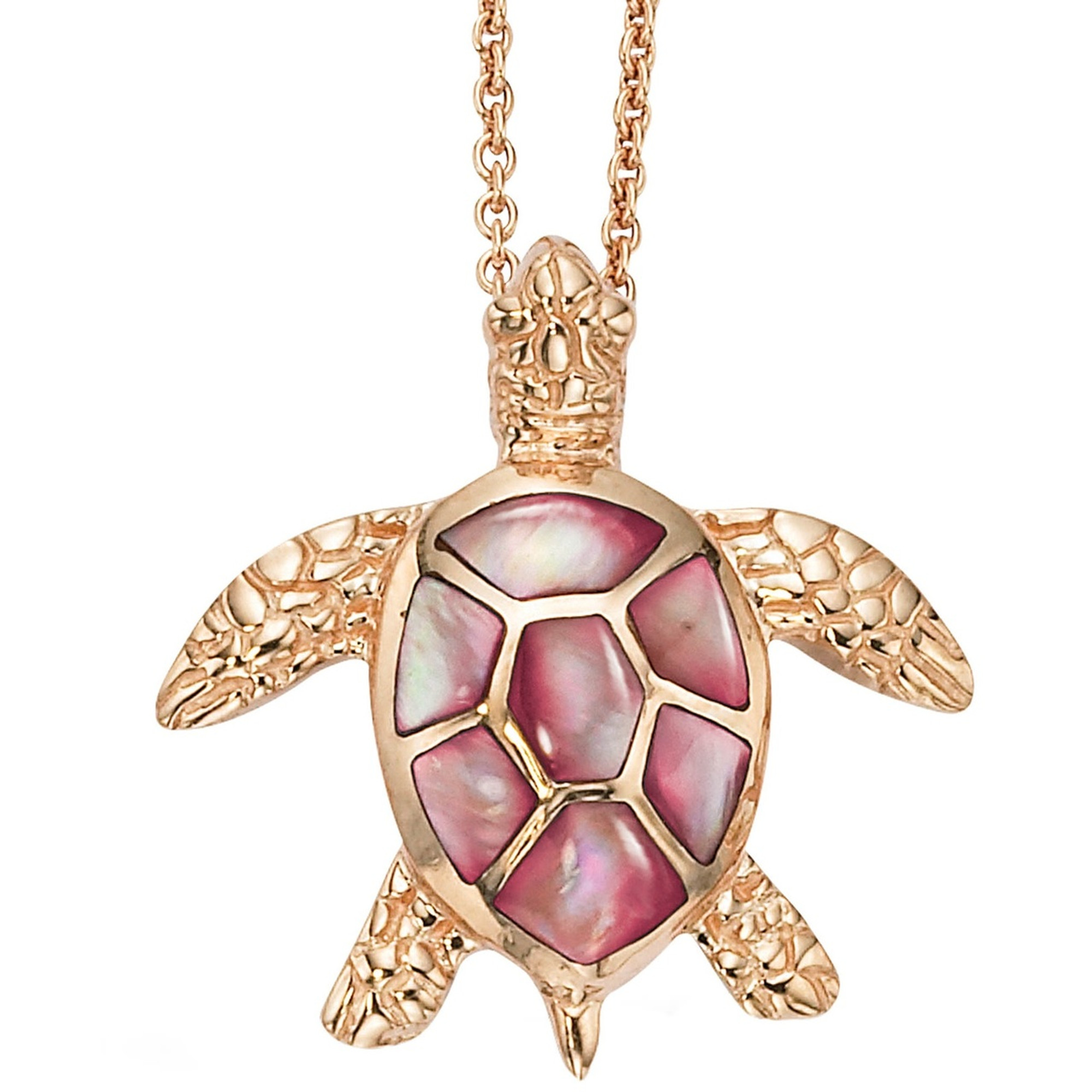 Sea Turtle 14K Rose Gold Inlay Pendant Necklace Kabana