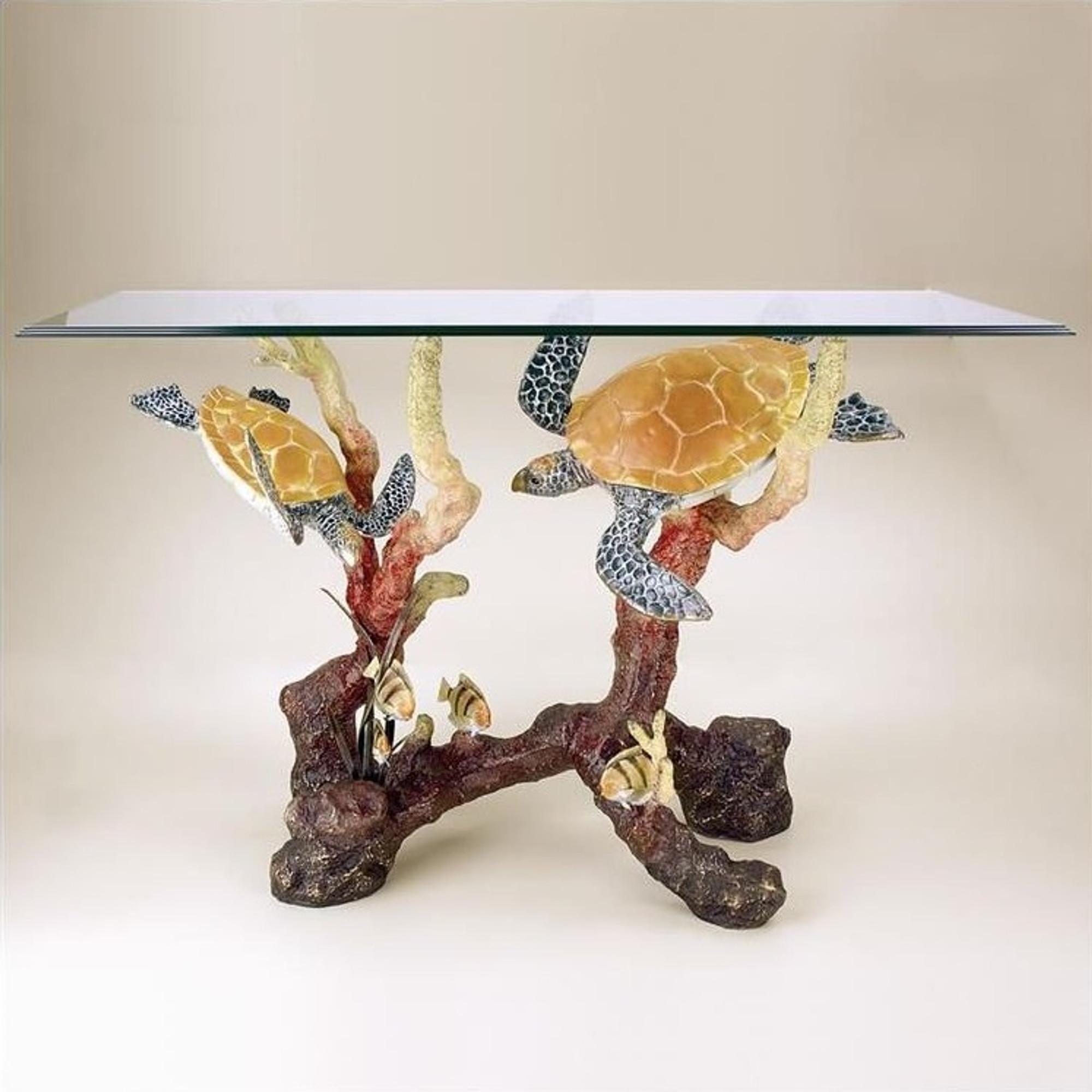 Sea Turtle Table Brass Glass Furniture Furnishing SPI - Sea turtle coffee table