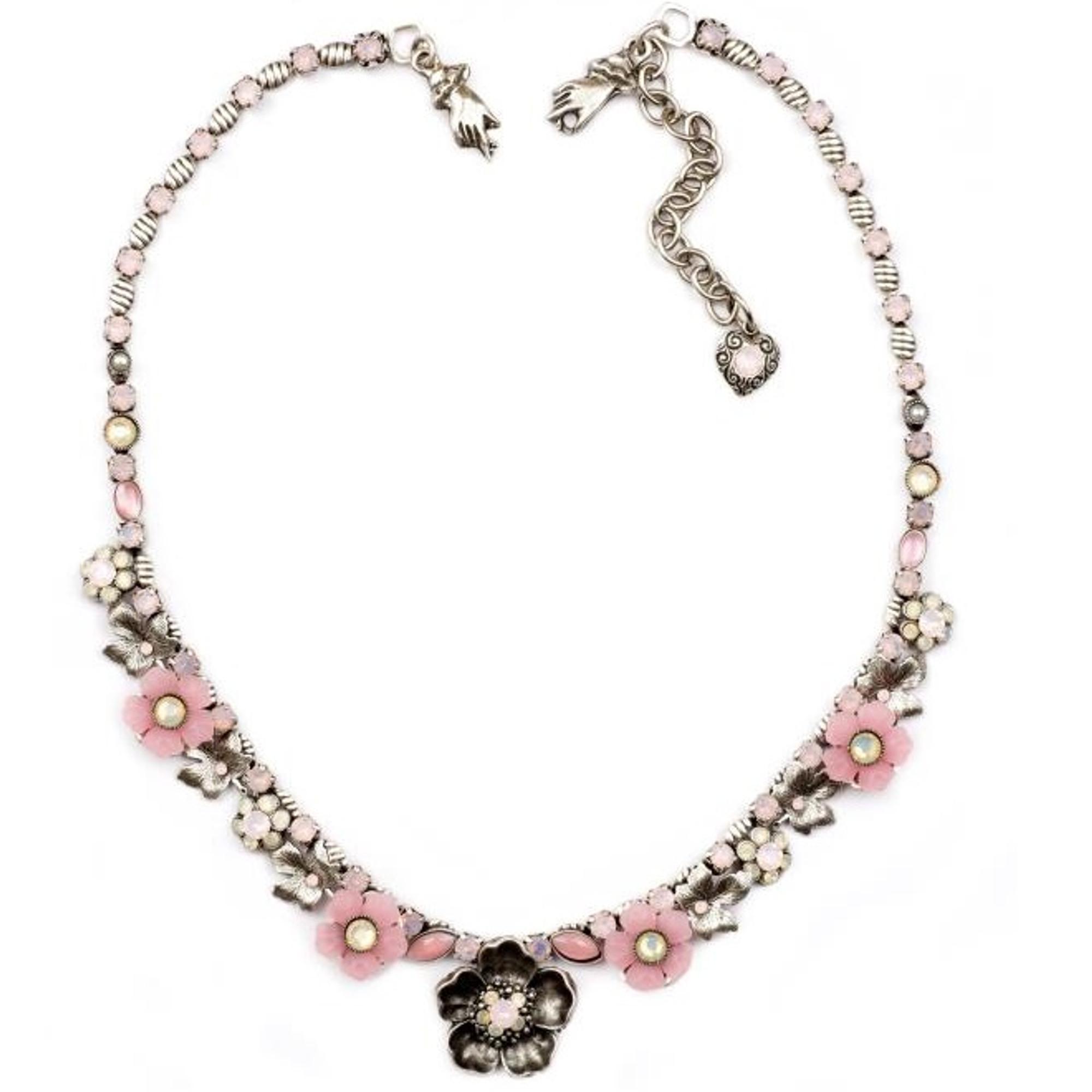 Pink flower necklace pewter la contessa mary demarco pink flower pewter necklace nature jewelry nk 9560 rwo mightylinksfo