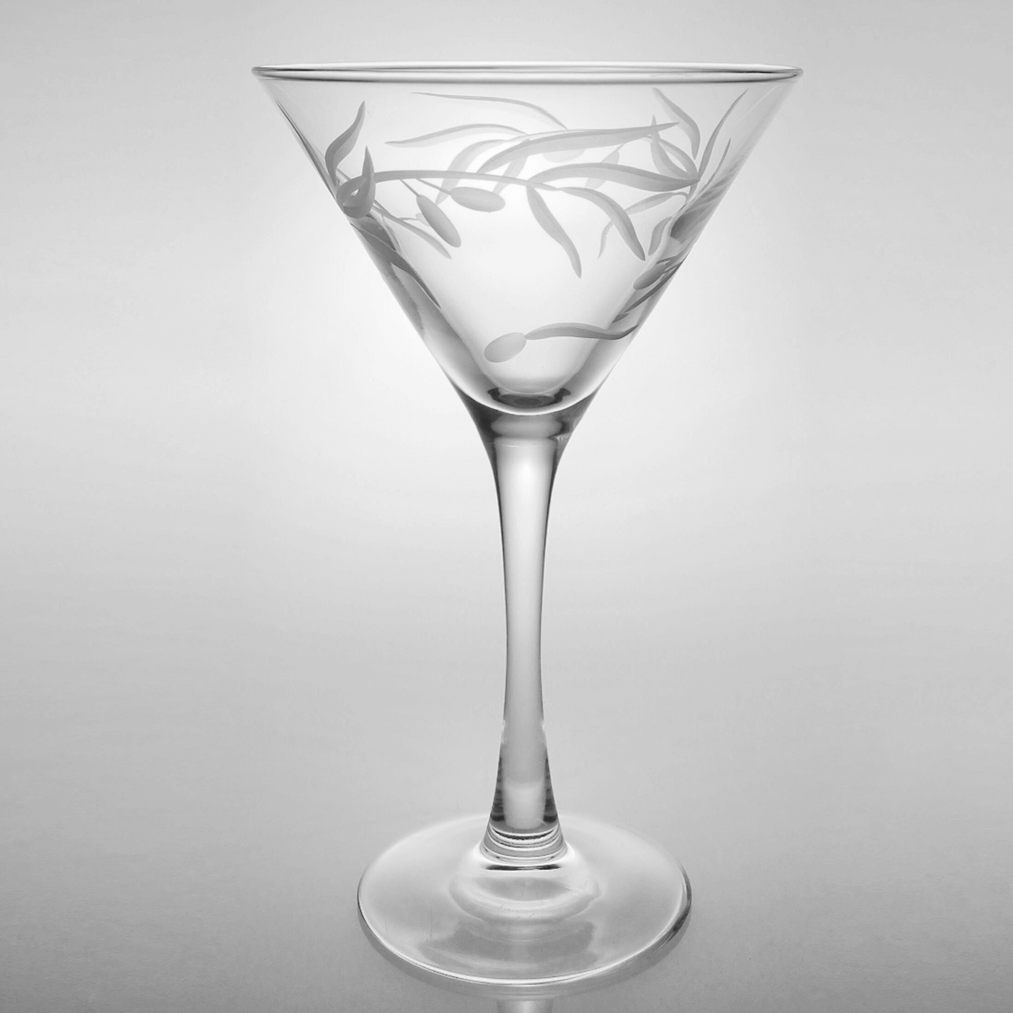 Olive Branch Martini Glass Set Engraved Olive Branch Martini Glass