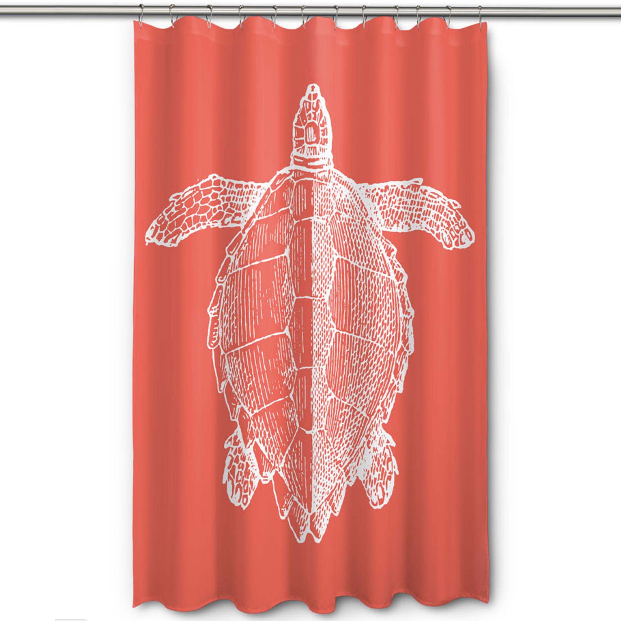 Sea Turtle Shower Curtain Vintage Coral