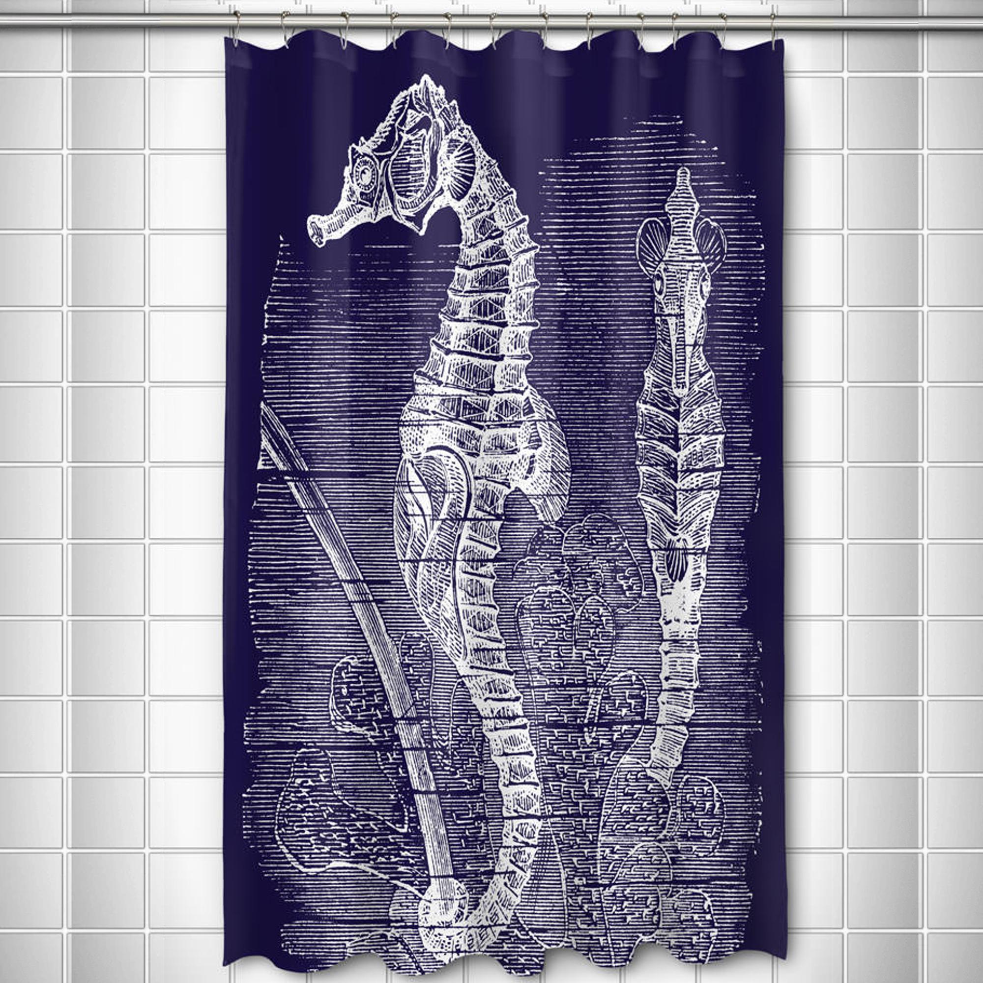 Vintage Navy Seahorse Shower Curtain