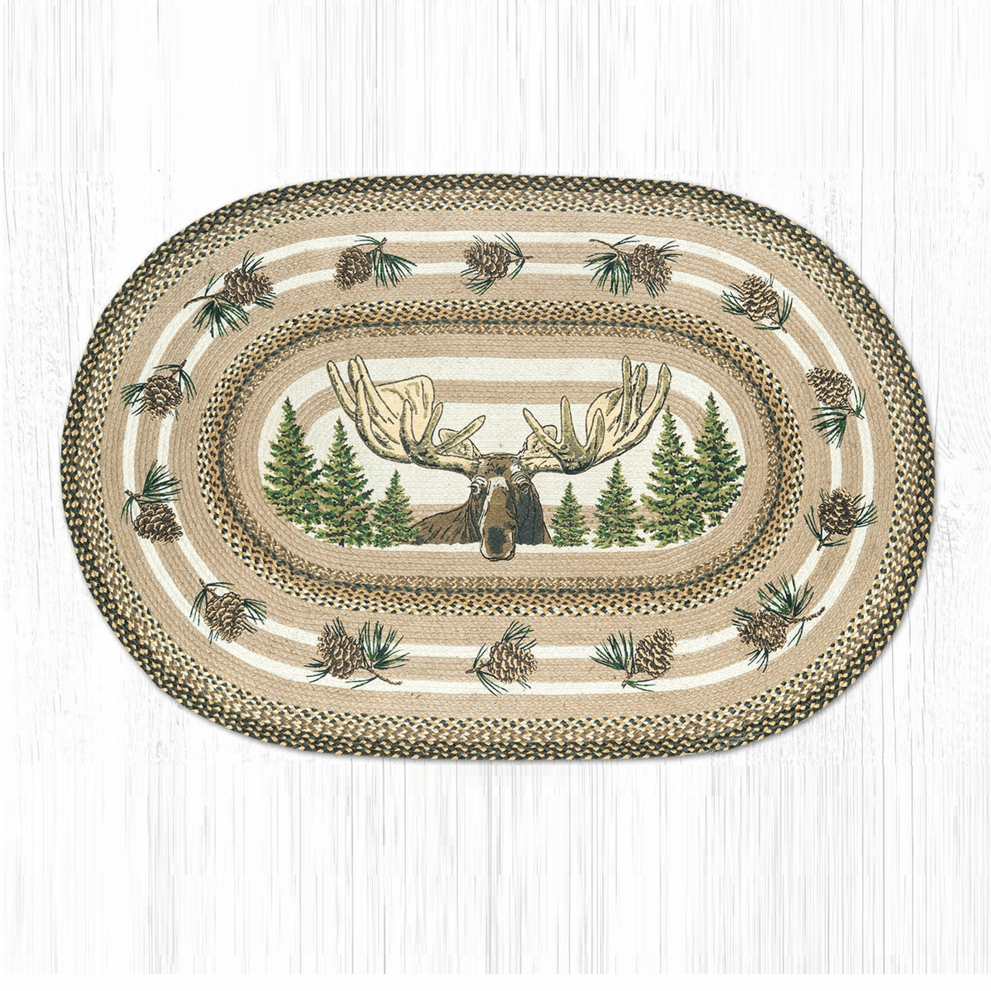 Bull Moose Oval Patch Braided Rug
