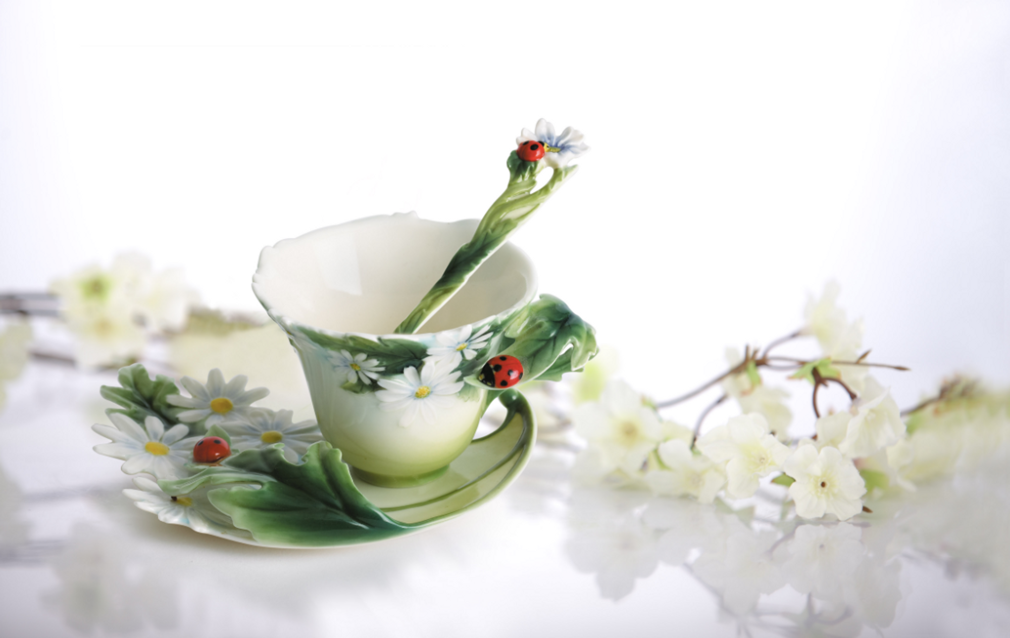 ... Ladybug Cup Saucer Spoon Set | Franz Porcelain | Fz00034 Great Pictures