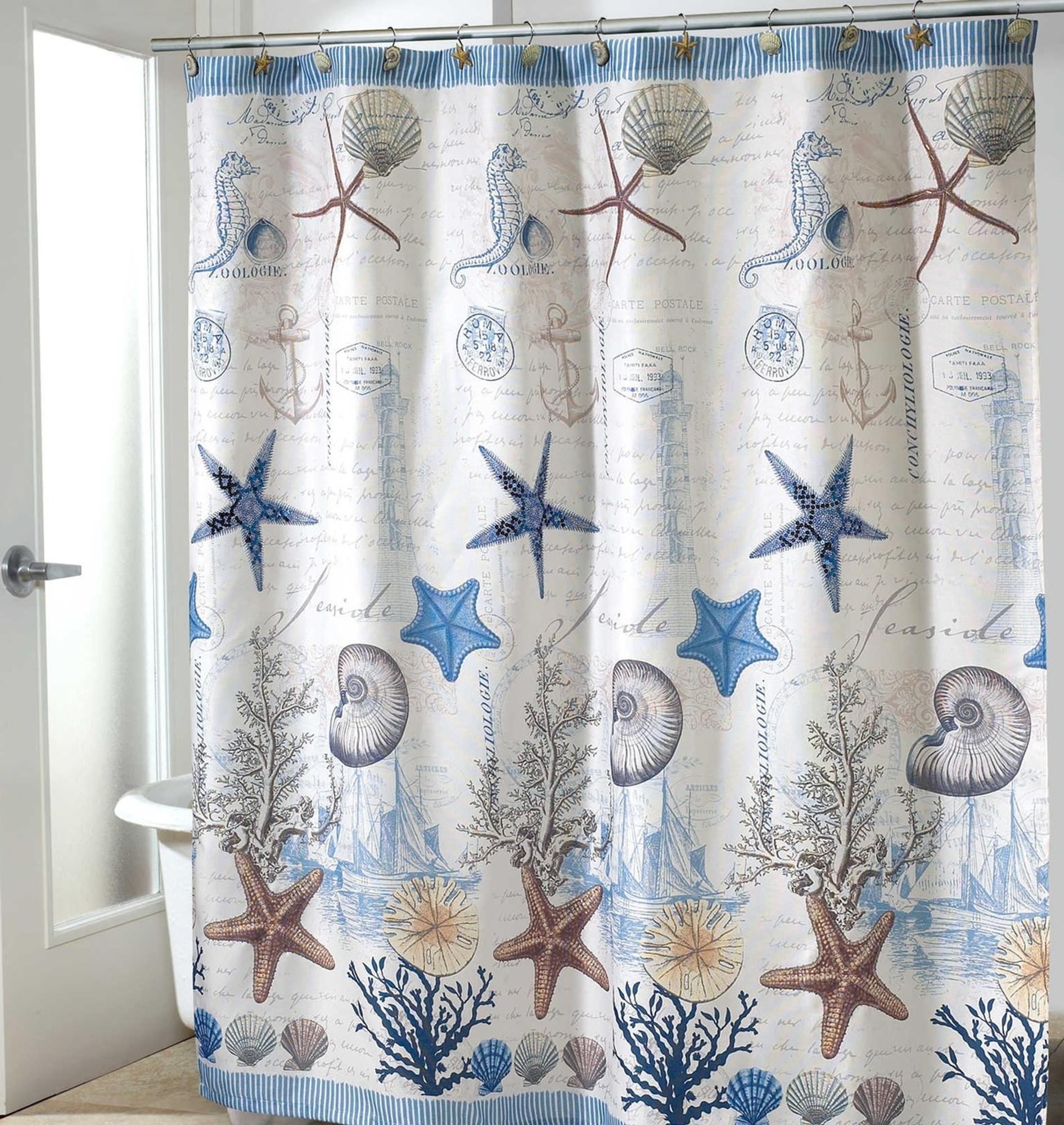 Starfish Shell Shower Curtain Antiqua