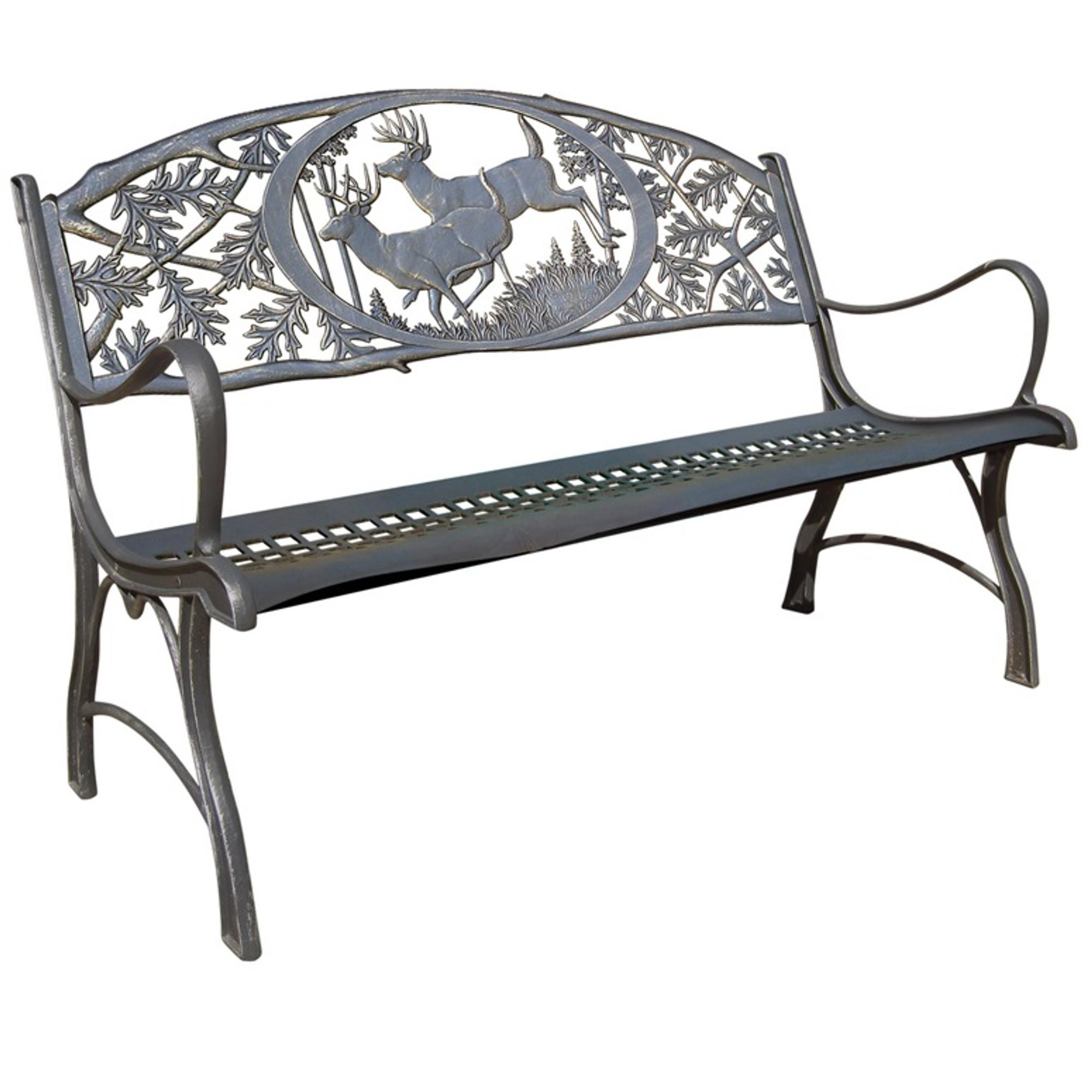 Deer Cast Iron Garden Bench | Painted Sky | PSPB IBK 100BR