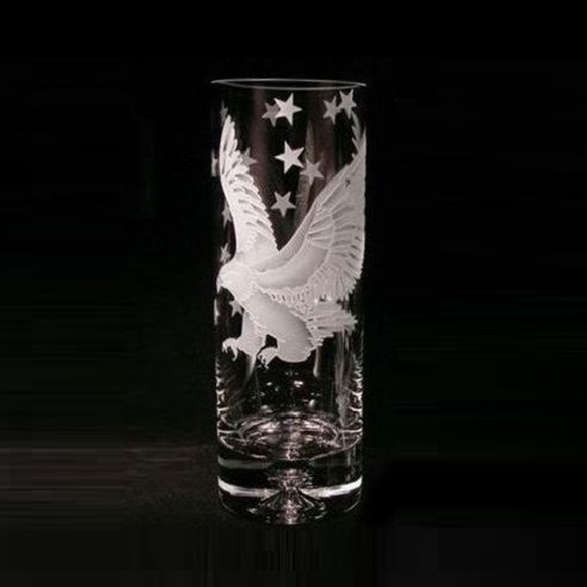 Eagle Crystal Vase Etched Crystal Evergreen Crystal