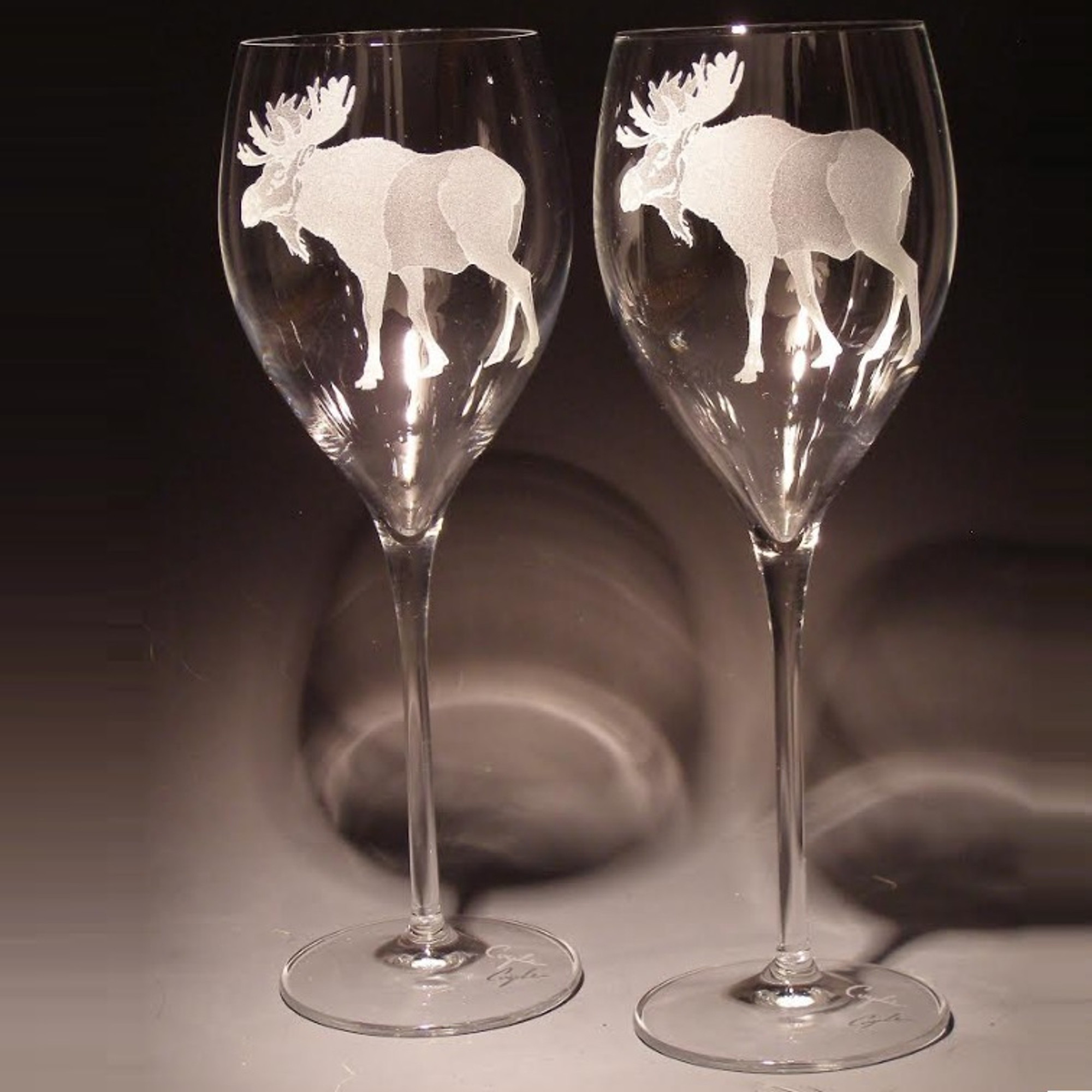 Moose Wine Glasses Etched Crystal Evergreen Crystal