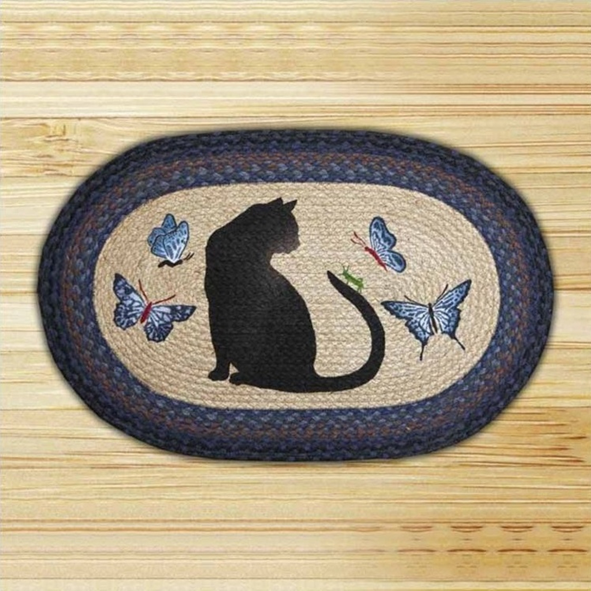 Cat Grasshopper Oval Patch Braided Rug