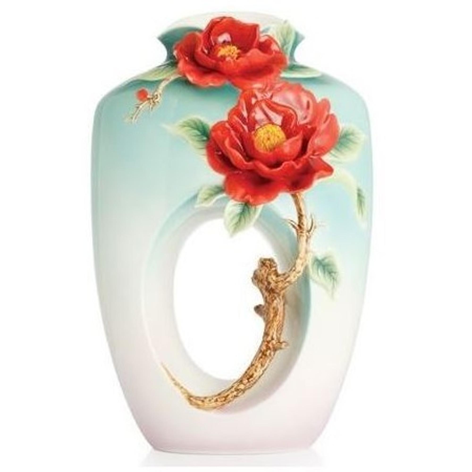 Red Camellia Vase Porcelain Franz Collection