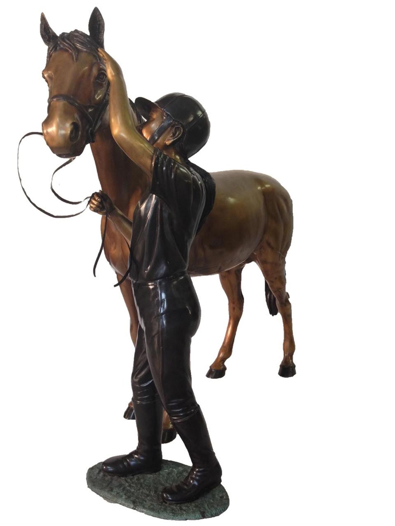 Horse And Girl Outdoor Bronze Sculpture Statue