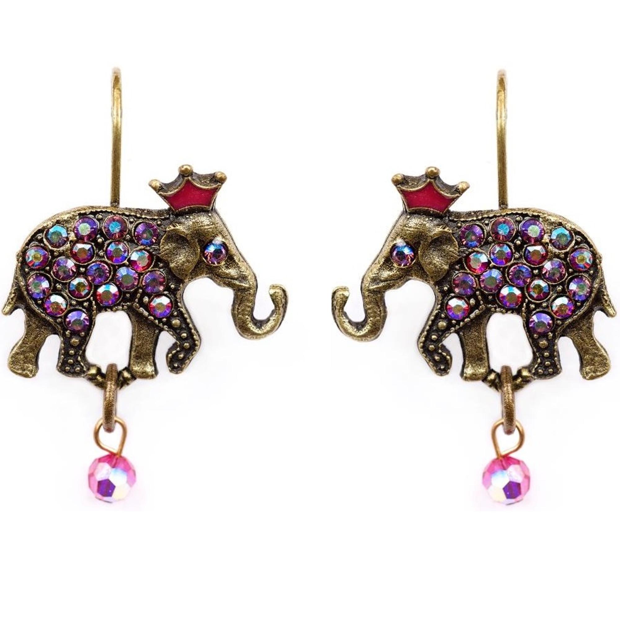 Elephant With Crown Earrings La Contessa Jewelry Mary