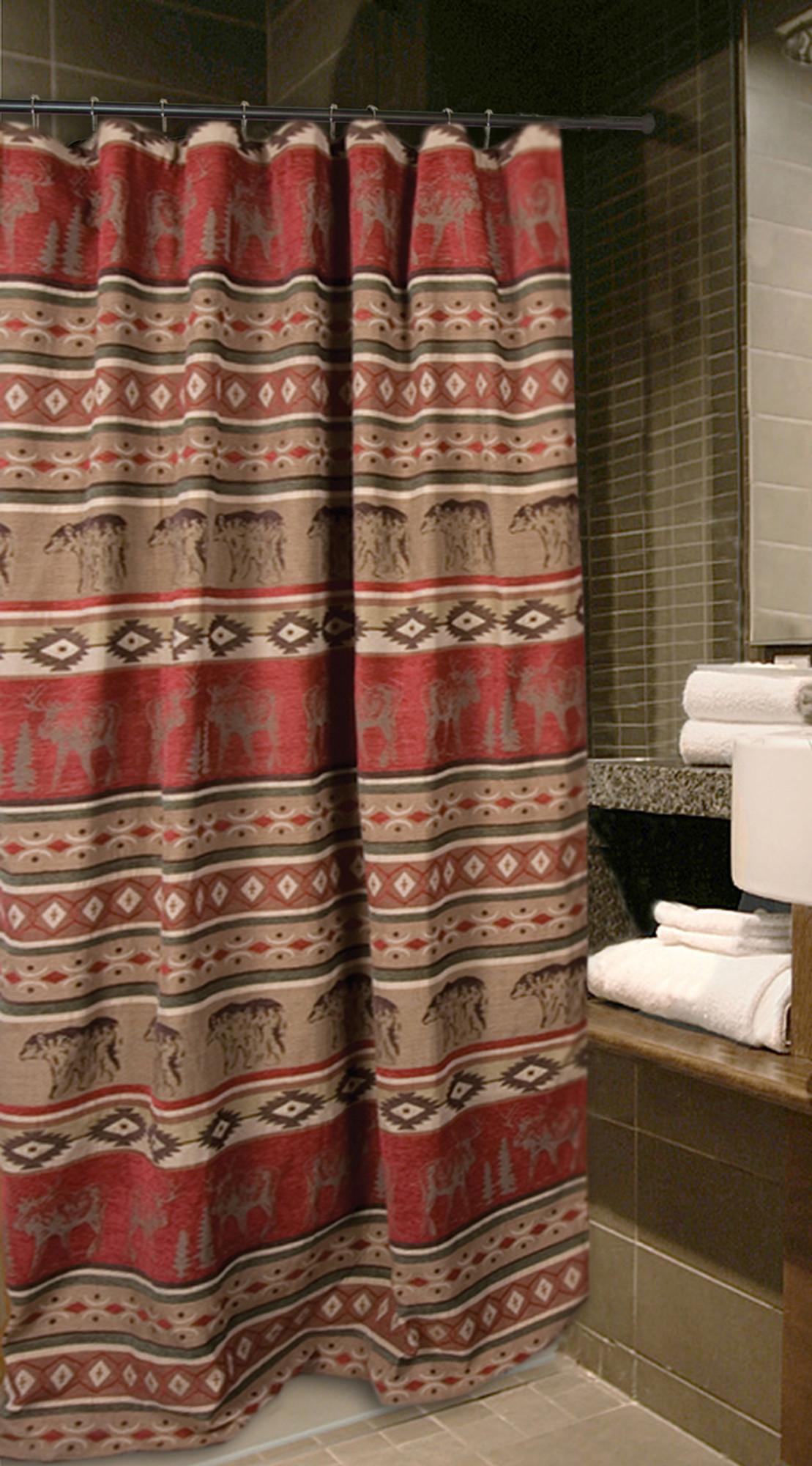 Deer Bear Adirondack Shower Curtain Carstens