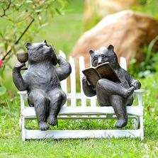 Hipster Bears on Bench Garden Sculpture | SPI Home | 34792