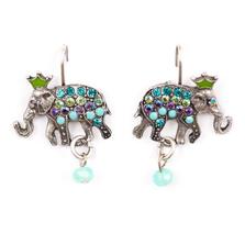 Elephant on Eurowire Earrings | Nature Jewelry | ER-9401-PKS