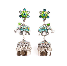 Star Flower, Elephant and large Jhumka Drops Post Earrings | Nature Jewelry | Er-9815-BGS
