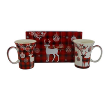 Holiday Reindeer Bone China Mug Set of 2 | McIntosh Trading Reindeer Mug | MTMMC020179