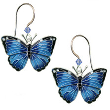 Blue Morpho Butterfly Cloisonne Wire Earrings | Nature Jewelry