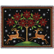 Reindeer Poinsettia Tapestry Throw Blanket | Pure Country | pc2448T
