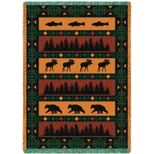 Timberline Bear Moose Fish Lodge Tapestry Afghan Throw | Pure Country | pc921A