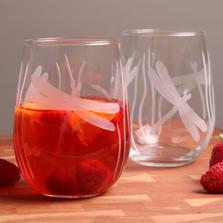 Dragonfly Stemless Wine Glass Set of 4 | Rolf Glass | ROL203332-4