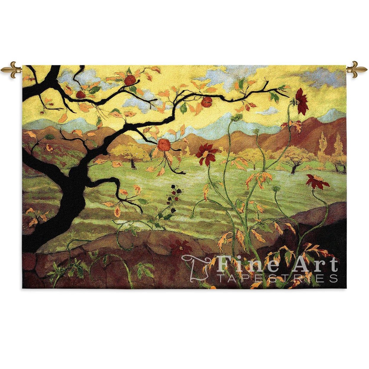 Apple Tree Wall Hanging | Tapestry | Red Fruit | Fine Art Tapestries