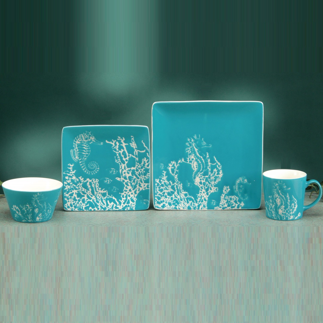 & Seahorse Dinnerware | Place Setting | Woodlands Collection