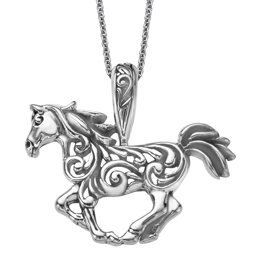 Horse scroll pendant necklace sterling silver kabana mozeypictures Gallery