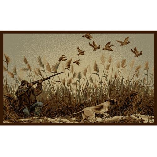 Caribu Dog Rug: Dog And Hunter Wilderness Area Rug