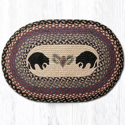 Black Bear Oval Braided Rug