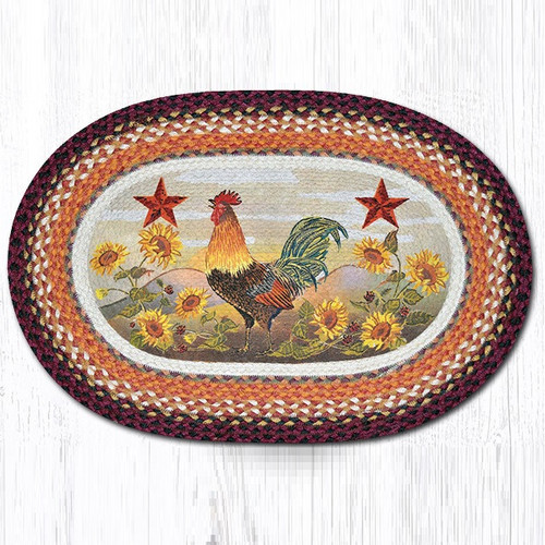 Rooster Oval Braided Rug