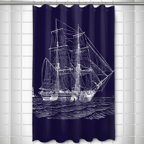Ship Shower Curtain Navy | Island Girl Home Vintage Navy Ship Shower ...