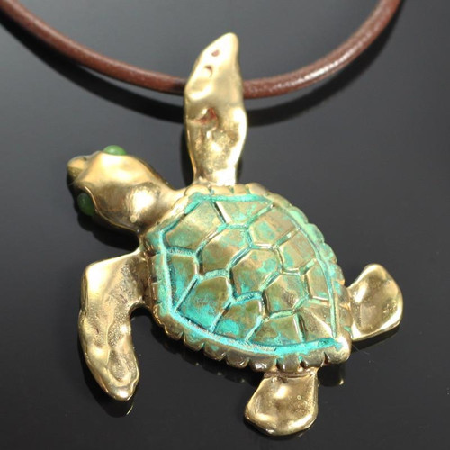 Sea Turtle Pendant Necklace Bronze Large Anisa Stewart