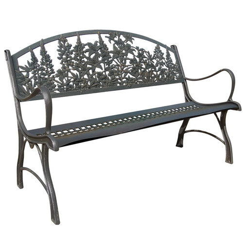 Wildflowers Bench Cast Iron Painted Sky
