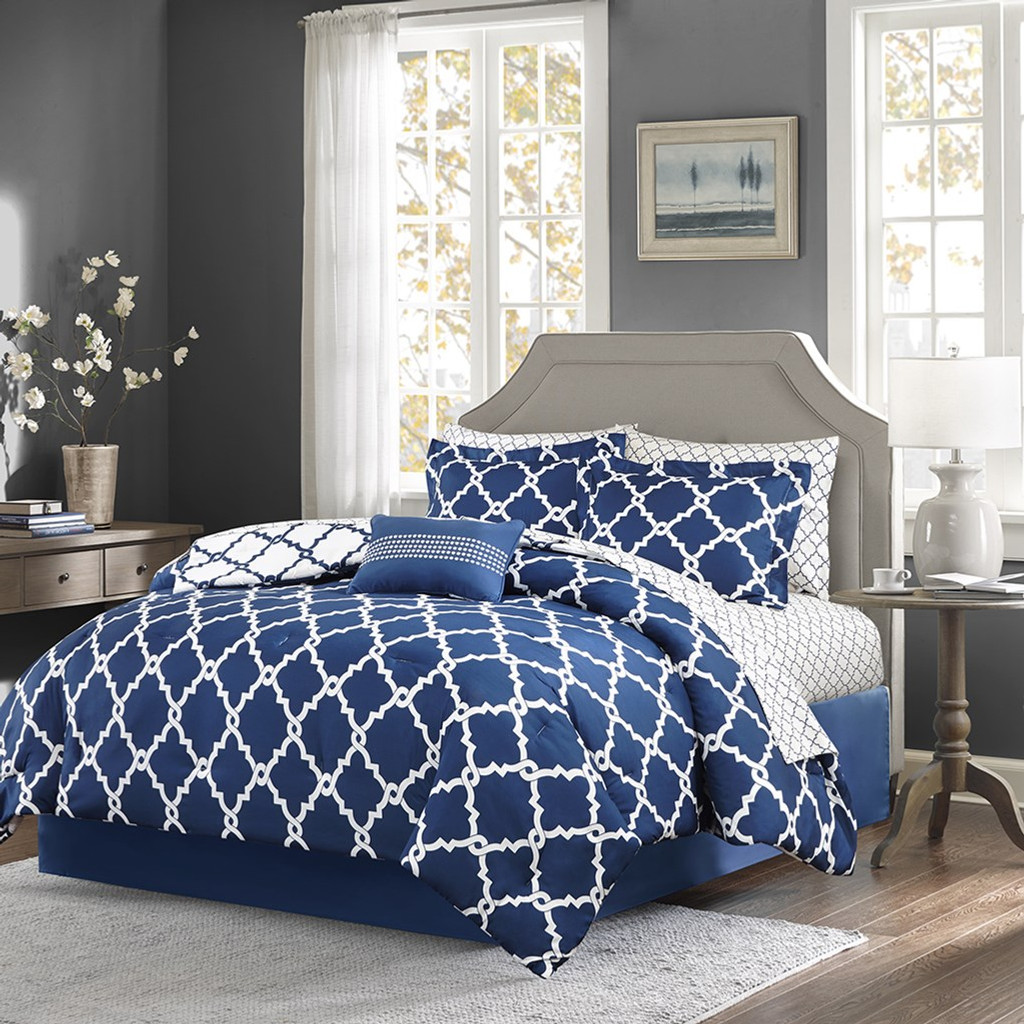 Navy Blue And White Fretwork Comforter Set Queen Size