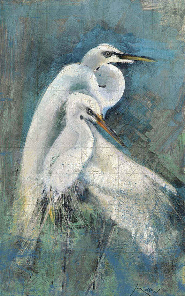 White Egret Pair Wall Art by Anthony Morrow