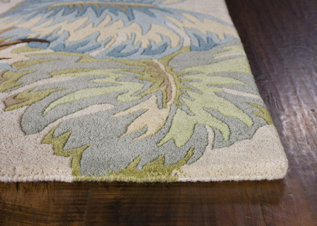 Ivory and Blue Island Oasis Luxury Rug  corner image