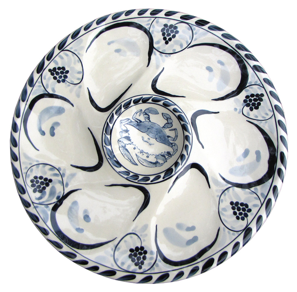 sc 1 st  Caronu0027s Beach House & Blue Crab Oyster Plates - Set of 2
