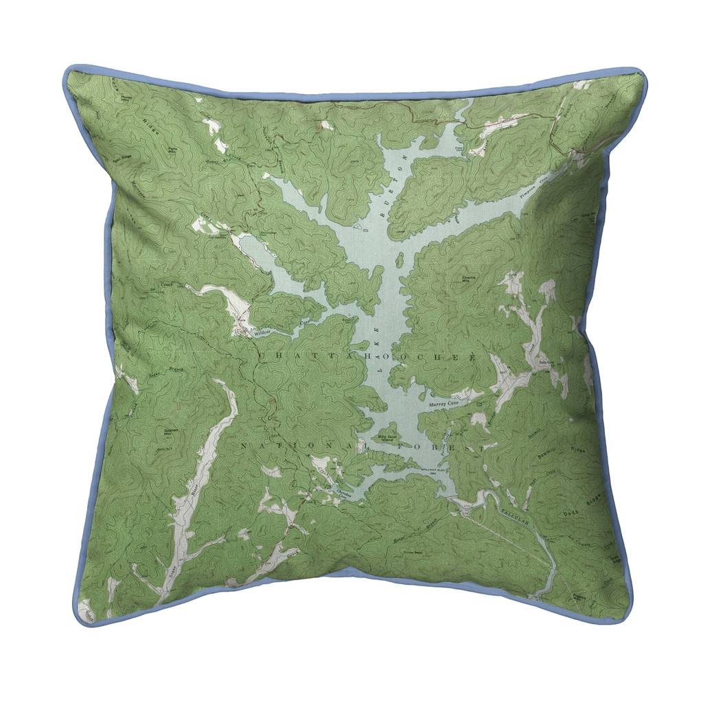 Burton Lake, Georgia Nautical Map 22 x 22 Pillow