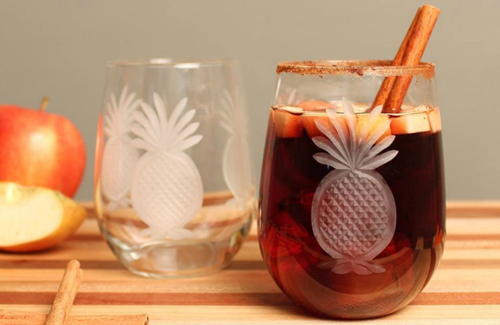 Pineapple Etched Large Wine Tumblers Set Of 4