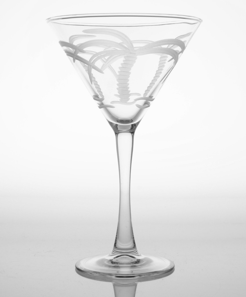 Palm Tree Etched Martini Glasses-Set of 4